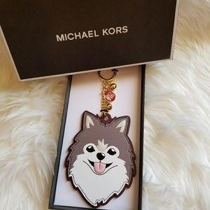 Michael Kors Dog Husky CNY Leather Key Charm /Ring